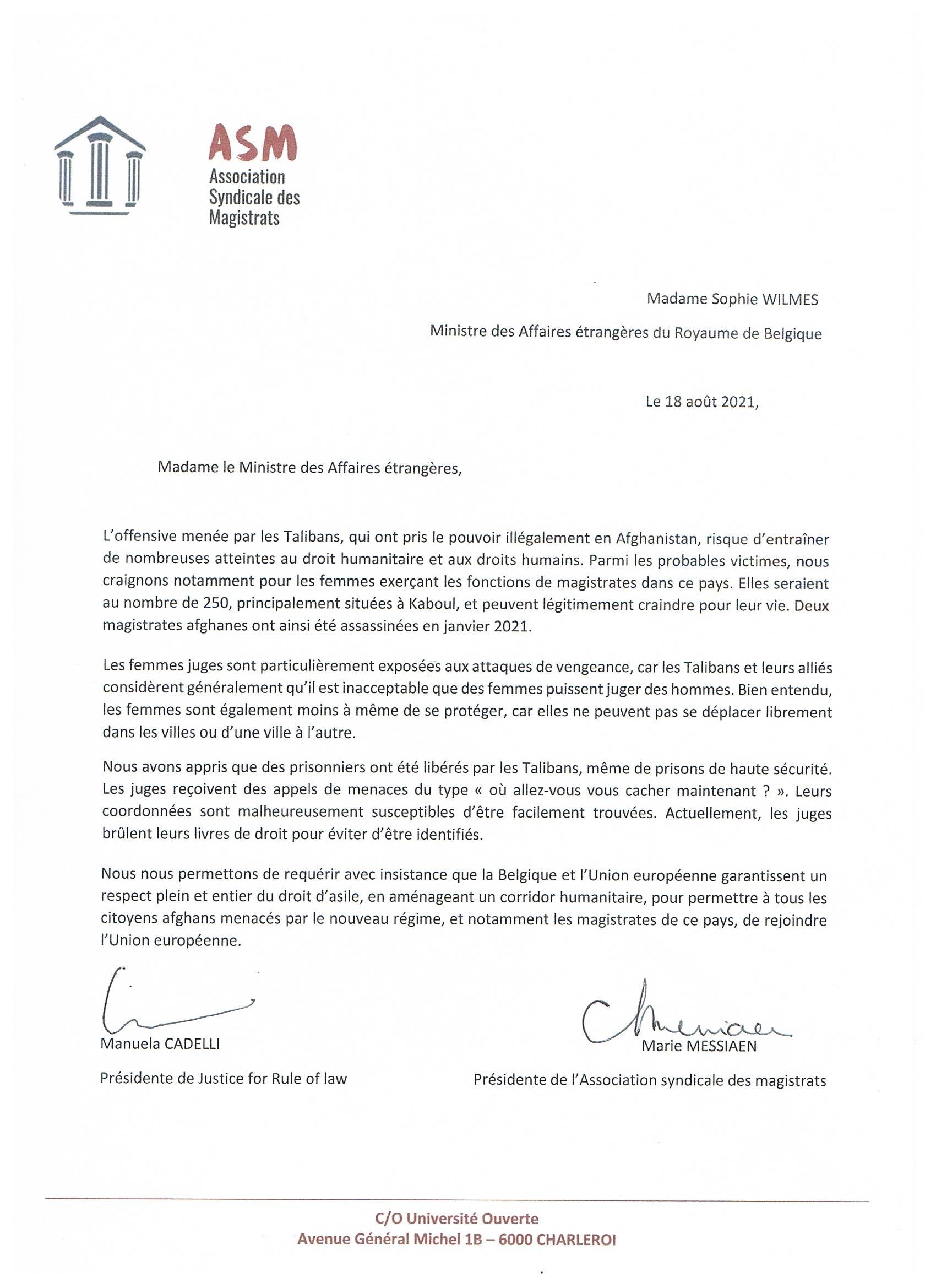 lettre Sophie Wilmès - juges Afghanistan